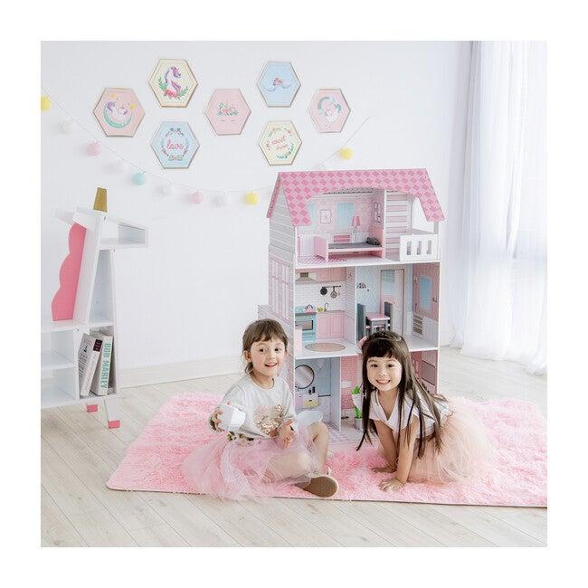 Wonderland Ariel 2-in-1 Kids Play Kitchen and Dollhouse, Pink/Grey