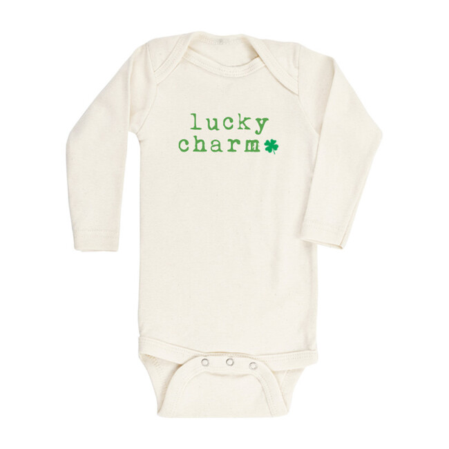 Lucky Charm Shamrock Long Sleeve Onesie, Green