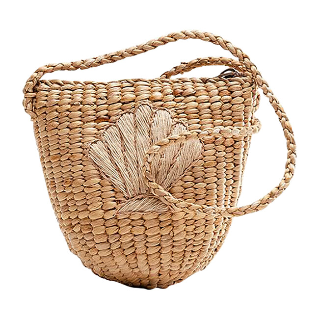 Shell Handwoven Tote, Nude