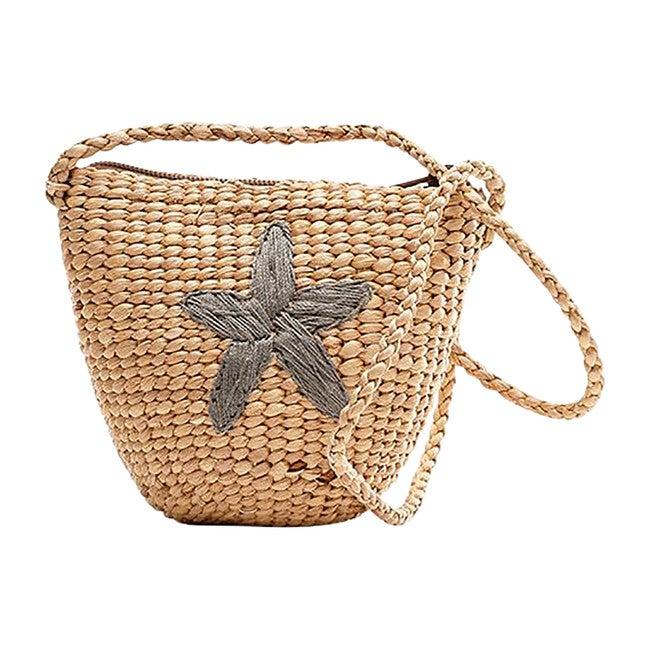 Starfish Handwoven Tote, Grey - Bags - 1