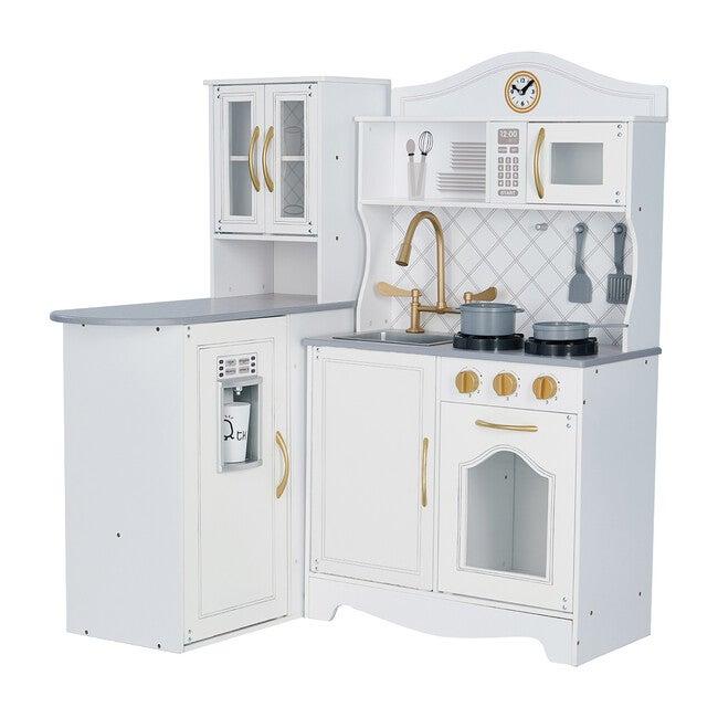 Little Chef Upper East Retro Play Kitchen, White/Gold