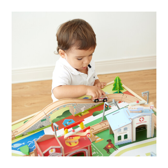 Preschool Play Lab Toys Country Train and Table Set, Wood