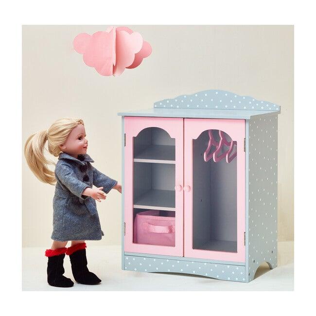 "Polka Dots Princess 18"" Doll Fancy Closet with 3 Hangers, Grey"
