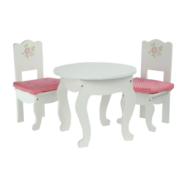 """Little Princess 18"""" Doll Table & 2 Chairs Set, White"""