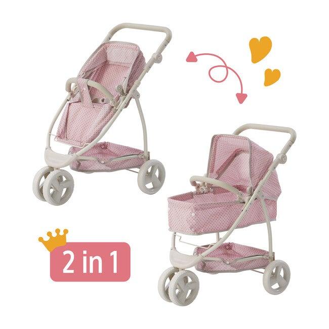 Polka Dots Princess 2-in-1 Baby Doll Stroller, Pink/Grey