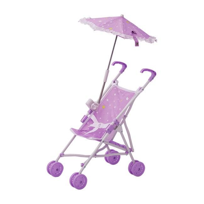 Baby Doll Stroller with Parasol, Purple/Stars - Dolls - 1