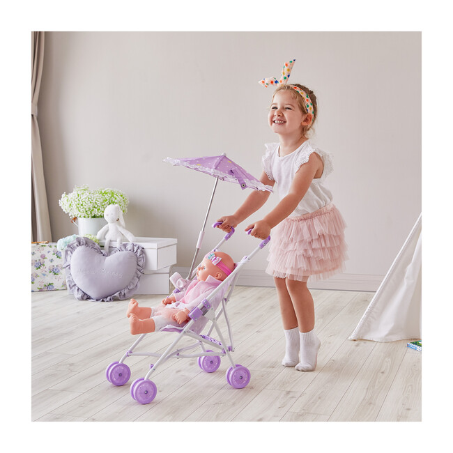 Baby Doll Stroller with Parasol, Purple/Stars