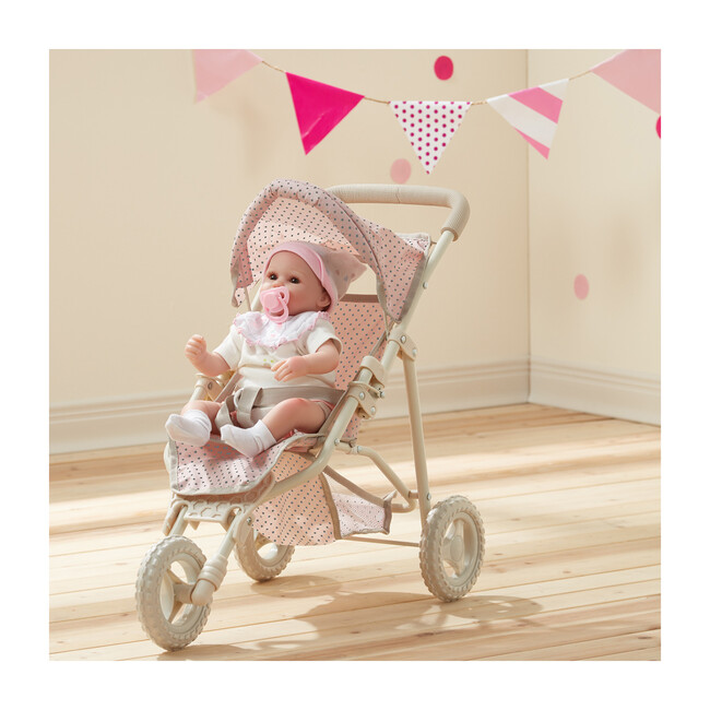 Polka Dots Princess Baby Doll Jogging Stroller, Pink & Grey