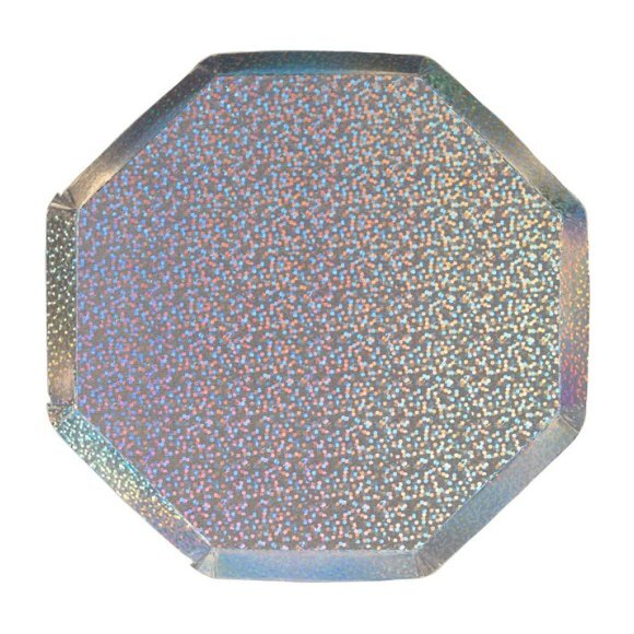 Silver Sparkle Cocktail Plates