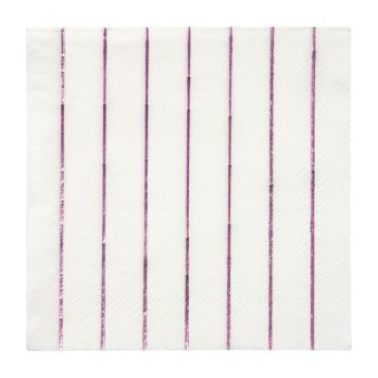 Metallic Pink Striped Small Napkins