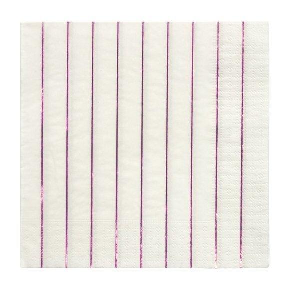 Metallic Pink Striped Large Napkins