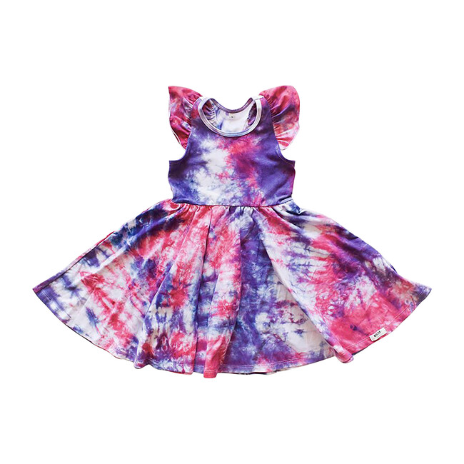 Twirly Swing Dress, Pink & Purple Tie Dye