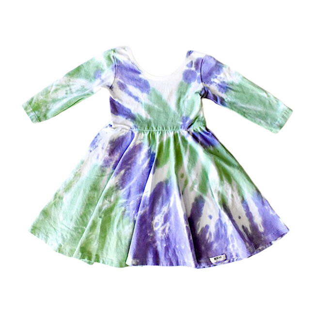 Twirly Dress, Purple & Green Tie Dye - Dresses - 1 - zoom
