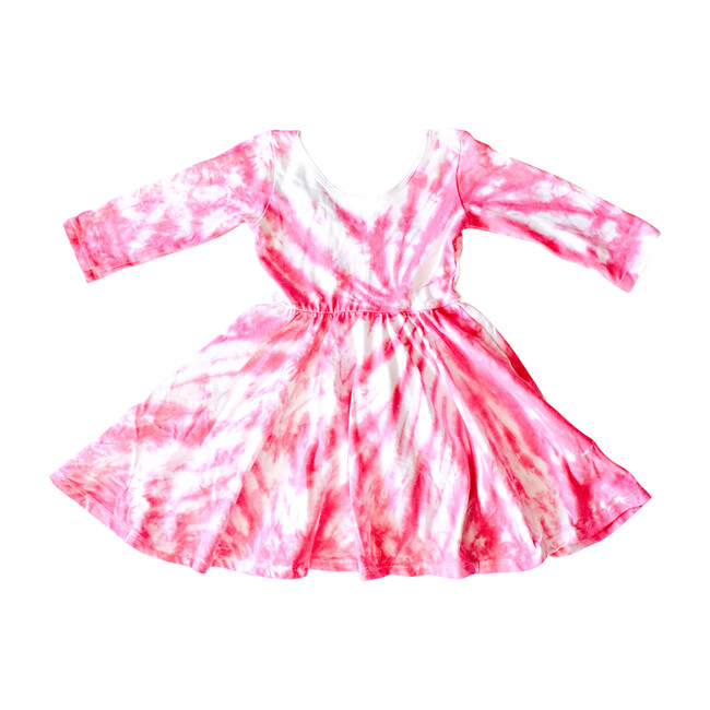 Embroidered Valentine's Dress, Pink Tie Dye - Dresses - 1