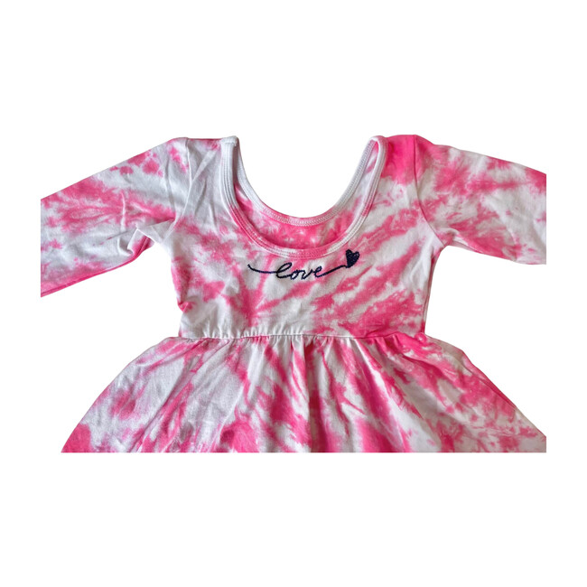 Embroidered Valentine's Dress, Pink Tie Dye