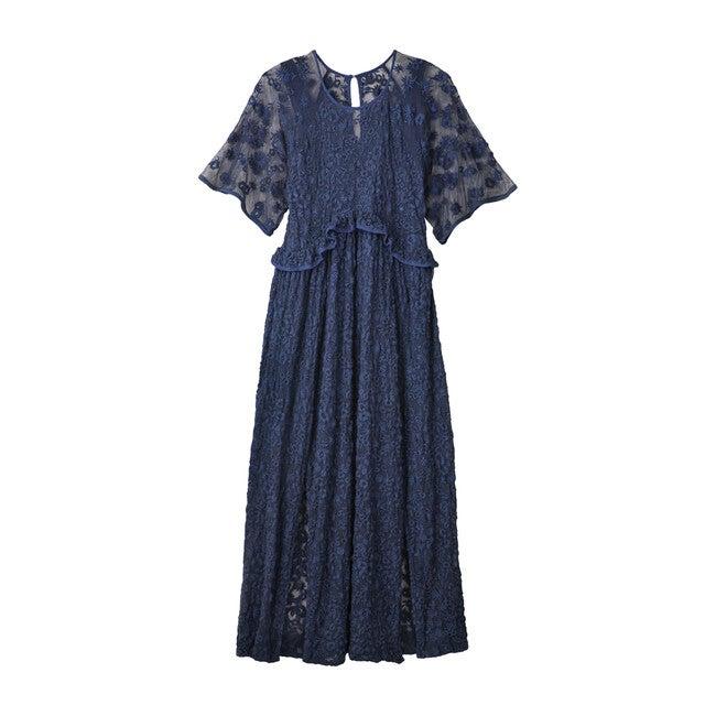 Women's Karolina Dress, Midnight Navy Embroidery