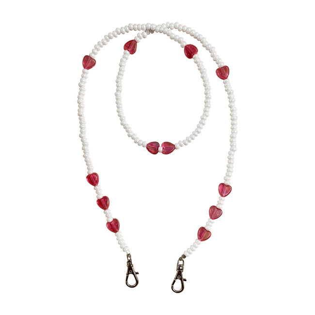 White & Hearts Valentine's Day Mask Chain