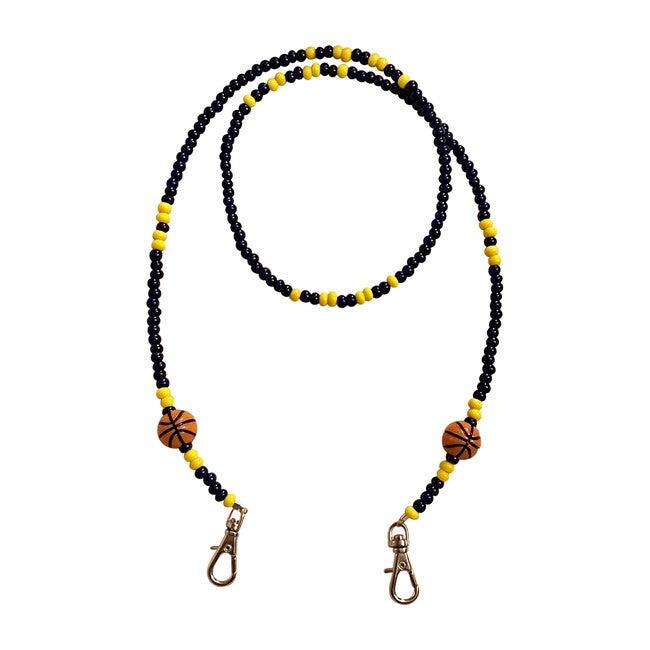 Navy & Yellow Basketball Mask Chain