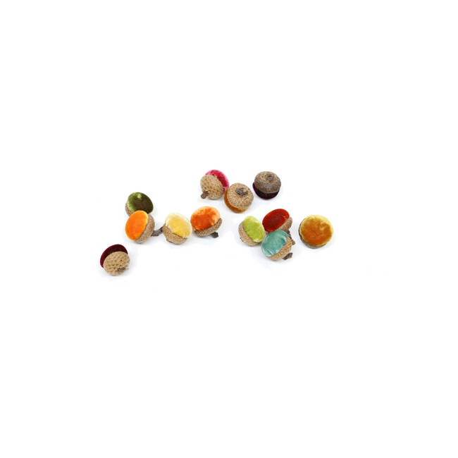 Set of 12 Velvet Acorns, Assorted