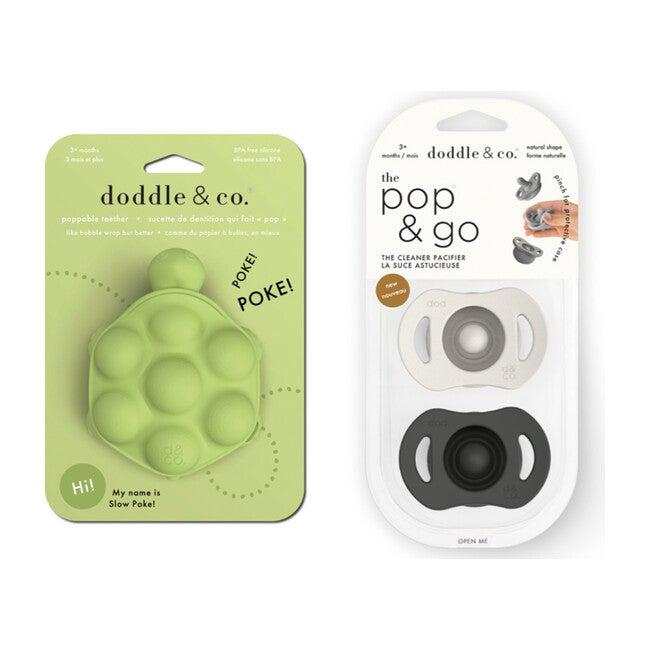 *Exclusive* Turtle Teether and Cream+Coal Pop & Go Pacifier, Green