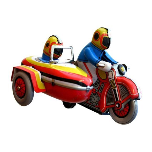 Motorcycle Tin Toy with Sidecar, Red