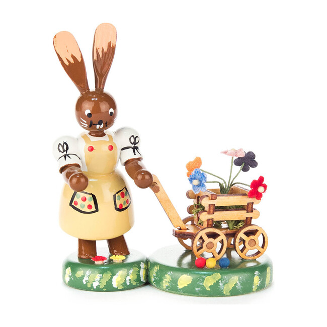 Easter Figure, Bunny Lady With Flower Cart