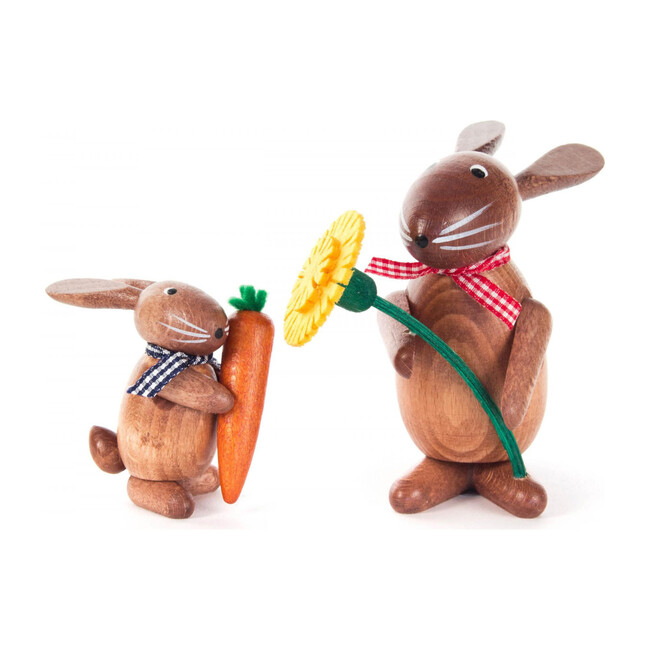 Set of 2 Easter Figures, Bunnies With Mayflower and Carrot