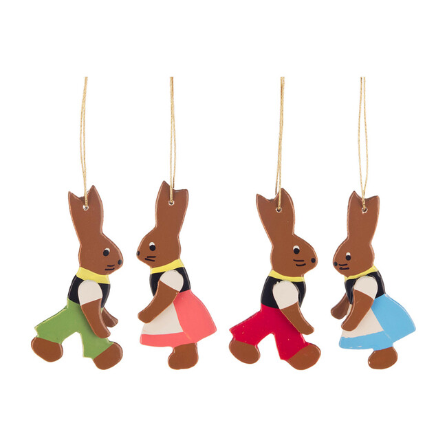 Set of 4 Easter Ornament, Rabbits