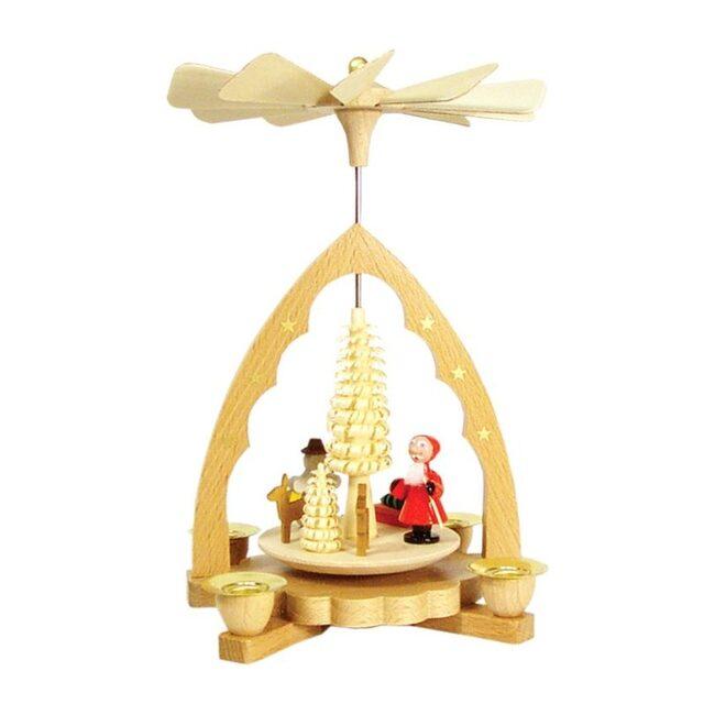 Santa, Deer & Snowman Decorative Pyramid, Small