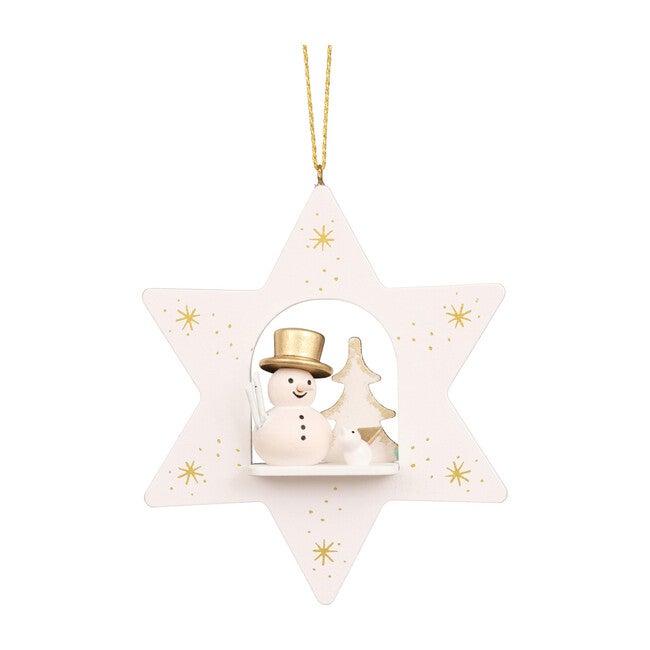 Snowman Star Ornament, White