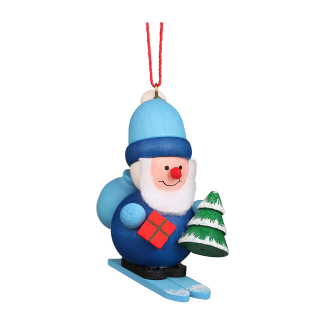 Santa on Sled Ornament, Blue