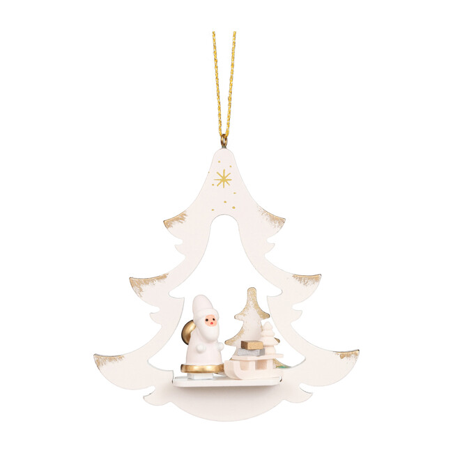 Santa Star Ornament, White