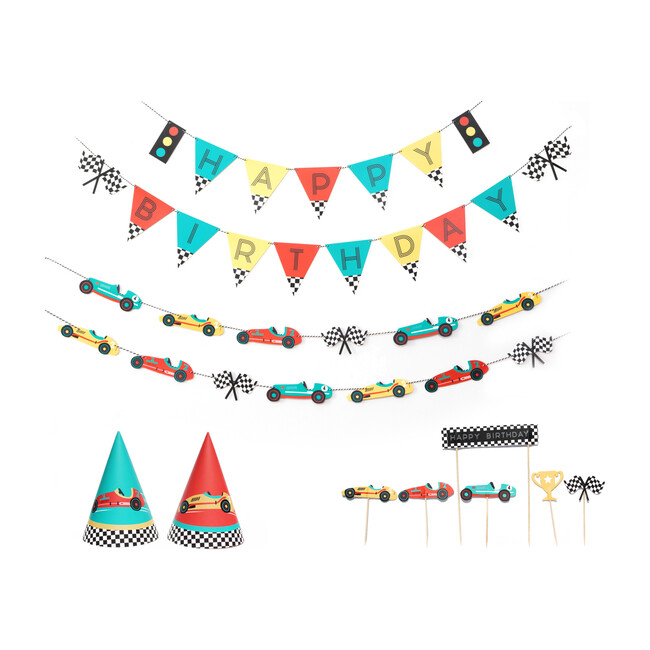 Vintage Race Car Birthday Party Decoration Kit