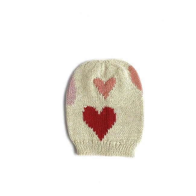 Ivory Heart Valentine Hat, Pink