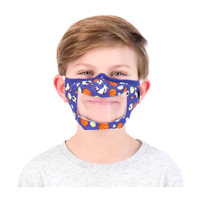Kids 3-Pack Peek-Through Masks, Blue Sports