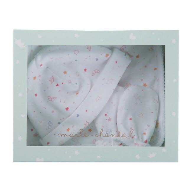 Angel wing Print Hat Bib & Mittens Set, Pink