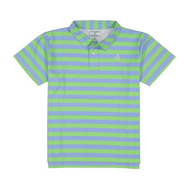Henry Boys Short Sleeve Polo, Cornflower Blue & Summer Green Stripe - Tees - 1