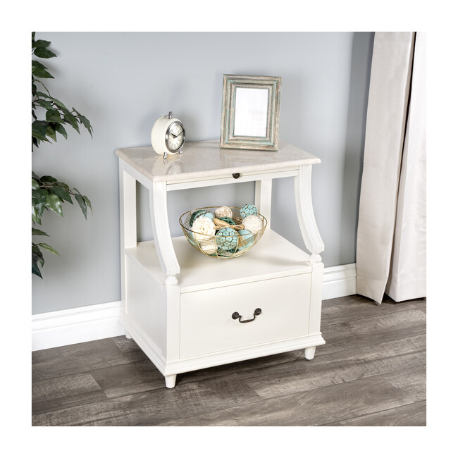 Danielle Marble Nightstand, White