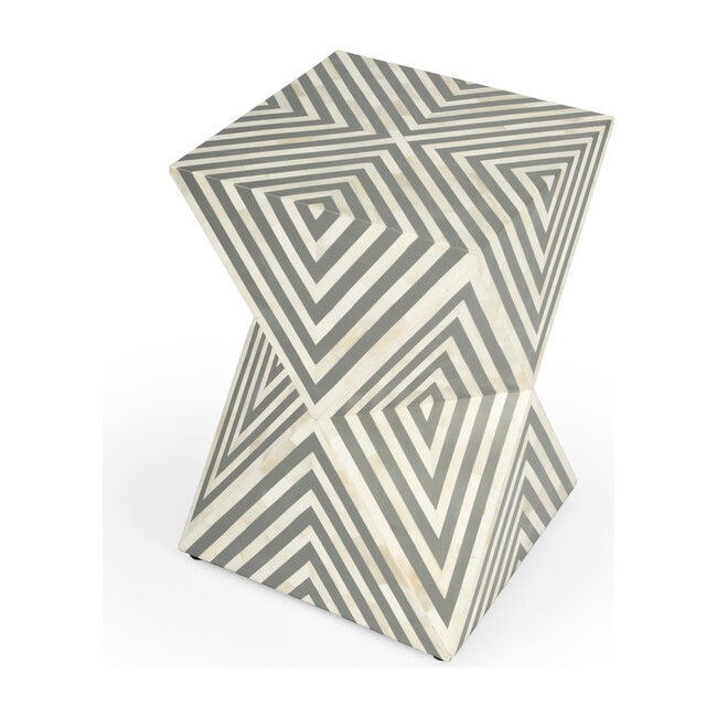 Anais Bone Inlay End Table, White/Grey - Accent Tables - 1