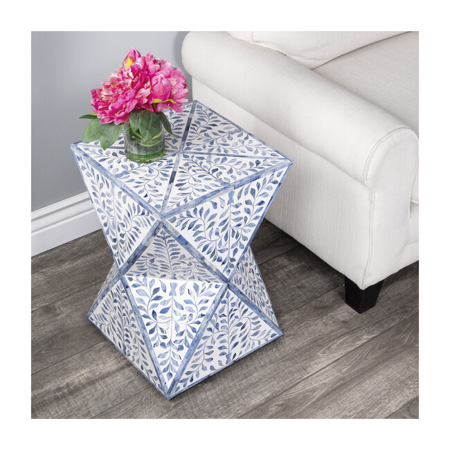 Anais Bone Inlay End Table, White/Blue