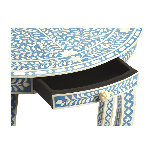 Darrieux Bone Inlay Demilune Console Table, Blue
