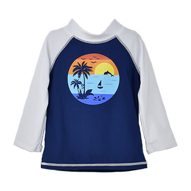 Graphic Rash Guard Swim Top, Sunset Palms