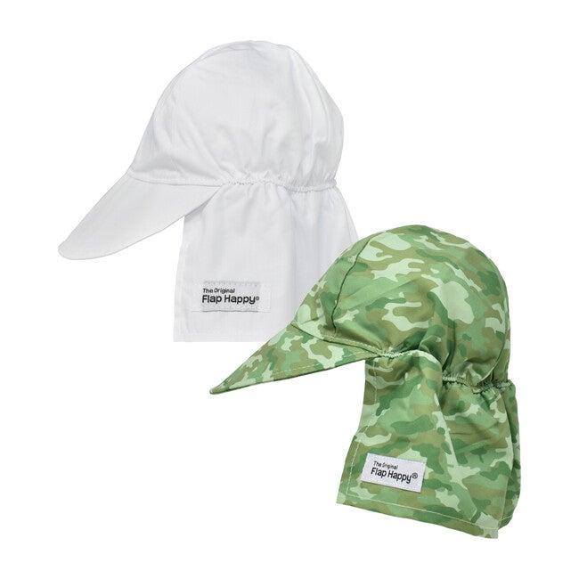 Original Flap Hat 2 Pack, White & Green Camo