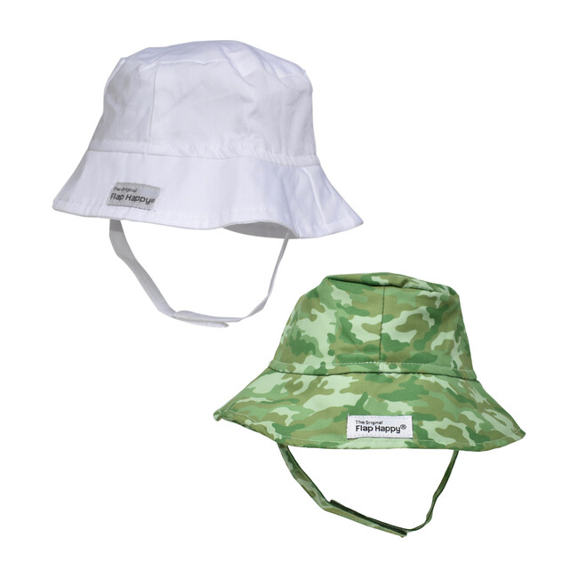 Bucket Hat 2 Pack, White & Green Camo
