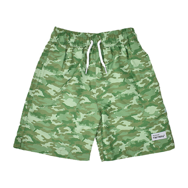 Boy Swim and Hat Set, Green Camo