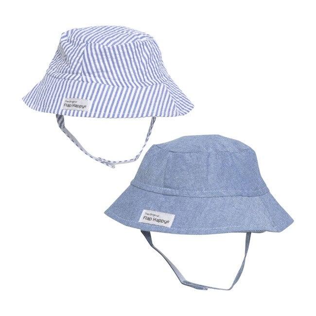 Bucket Hat 2 Pack, Chambray & Chambray Stripe Seersucker - Hats - 1