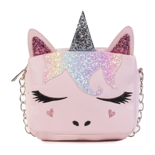 Sugar Glitter Unicorn Crossbody Bag, Pink - Bags - 1