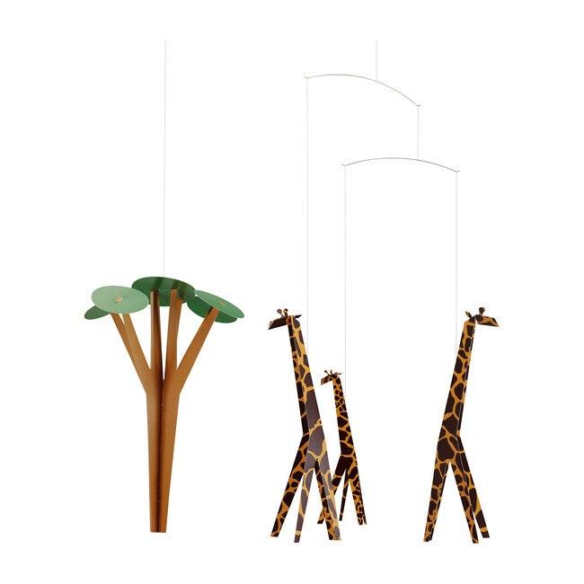 Giraffes on the Savannah Mobile, Yellow/Green