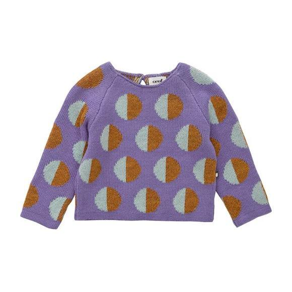 Double Raglan Sweater Lilac With Dots, Purple