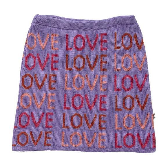 Double Skirt Lilac With Love Pattern, Purple